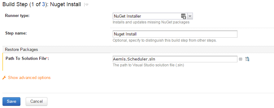 nuget install settings